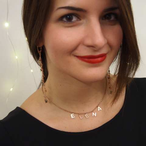 Collana choker argento 925 oro rosa 8 lettere nome personalizzato