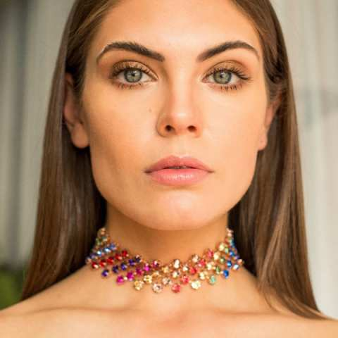 Collana choker Rainbow cristalli Swarovski multicolor