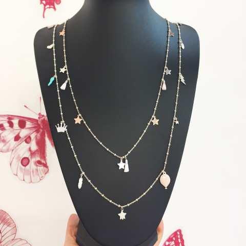 Collana lunga catena rosario argento 925 Lucky charms