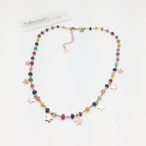 Collana choker rosario argento 925 oro rosa pietre dure multicolor e stelle