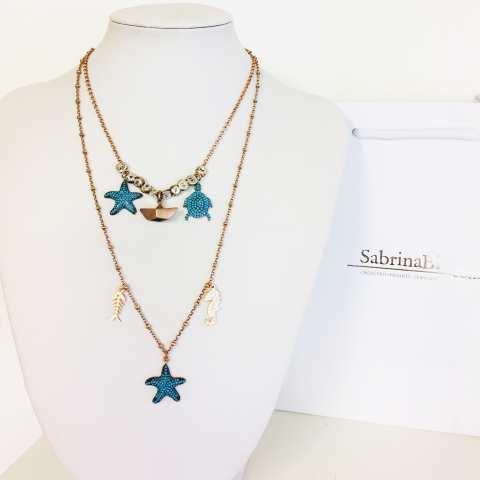 Collana girocollo argento 925 rosario oro rosa 3 charms Mare