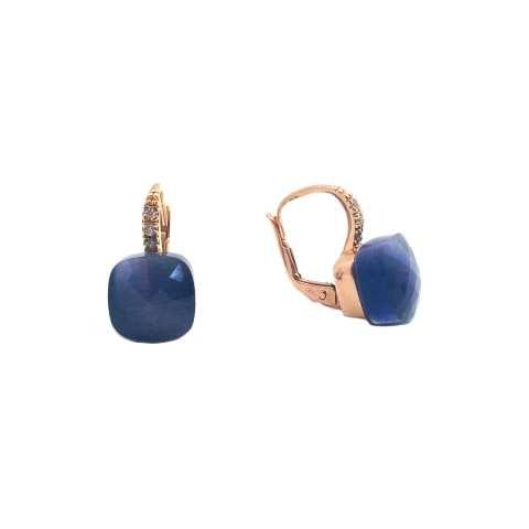Orecchini pendenti argento 925 oro rosa Opale viola