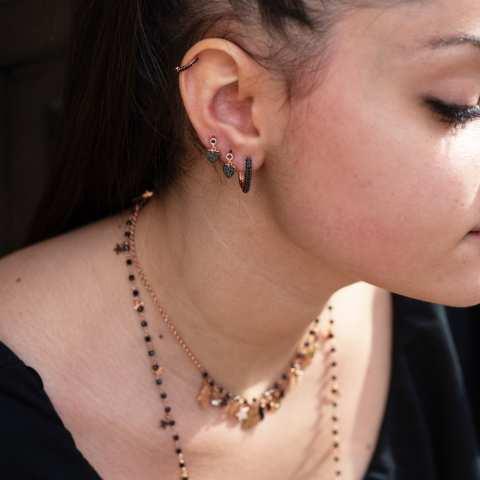 Orecchini rettangolari argento 925 oro rosa Zirconi neri