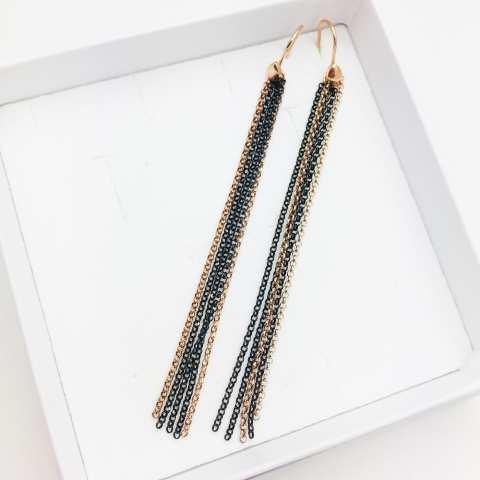 Orecchini pendenti lunghi catene argento 925 rodiato nero e oro rosa
