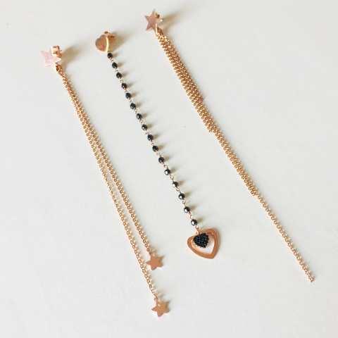 Mono orecchino lunghissimo argento 925 oro rosa cascata catene