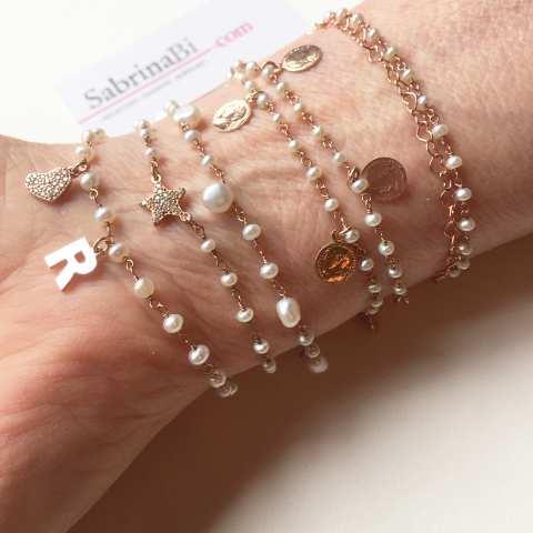 Bracciale due giri rosario argento 925 oro rosa Perle e monete