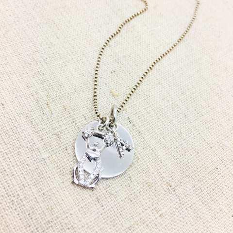 Collana lunga argento 925 Ugo e lettera iniziale nome