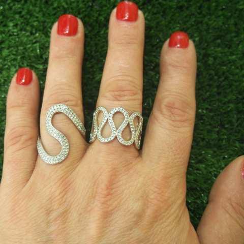 Anello argento 925 Infinity brillanti