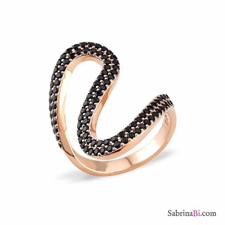 Anello argento 925 bagno oro rosa River brillanti neri Tg. 54