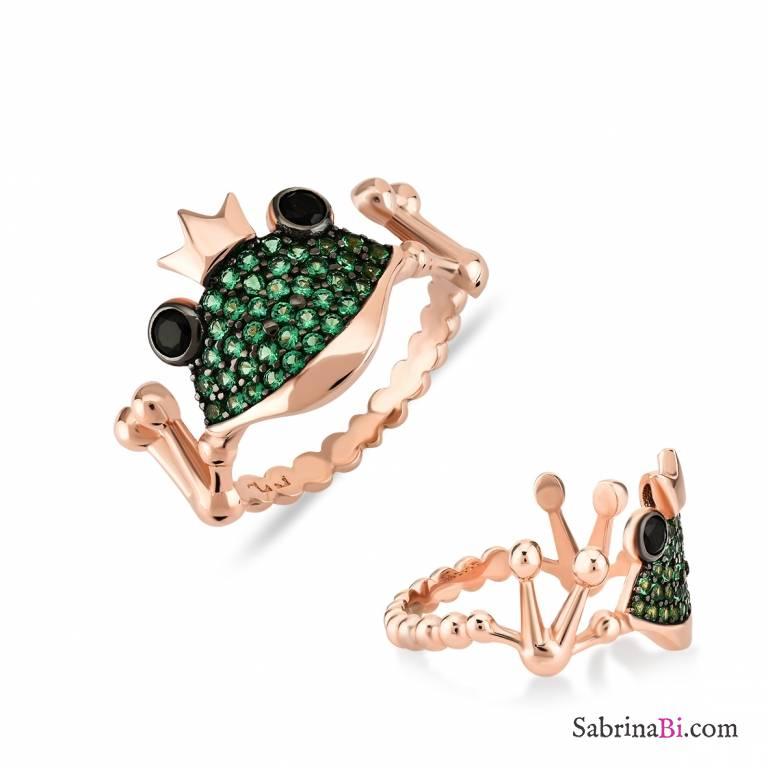 Anello argento 925 oro rosa Principe Ranocchio brillanti verdi Tg. 52