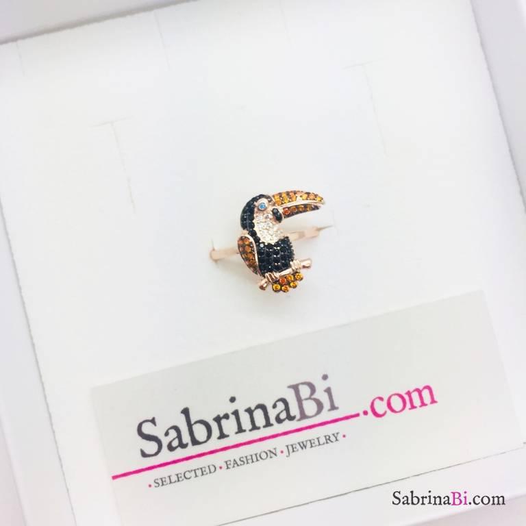 Anello argento 925 oro rosa Tucano Zirconi multicolor