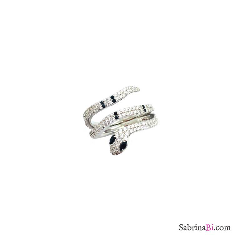 Anello argento 925 serpente Zirconi