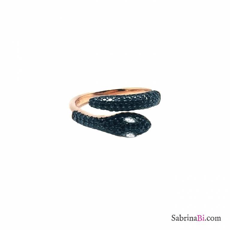 Anello contrariè argento 925 oro rosa serpente Zirconi neri