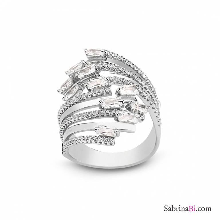Anello fascia argento 925 Abbraccio brillanti
