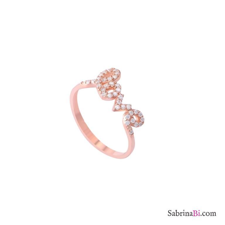 Anello fedina argento 925 oro rosa scritta Love brillanti