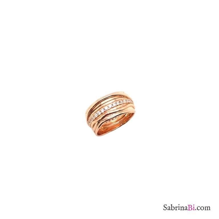 Anello Filo della vita argento 925 oro rosa Zirconi