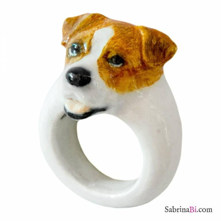 Perfect Porcelain Jack Russell Dog Ring Size L
