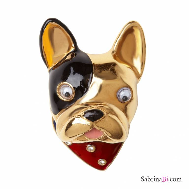 Anello placcato oro cane French Bulldog tg. M/L