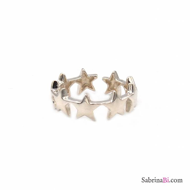 Anello regolabile a fascia open argento 925 stelle