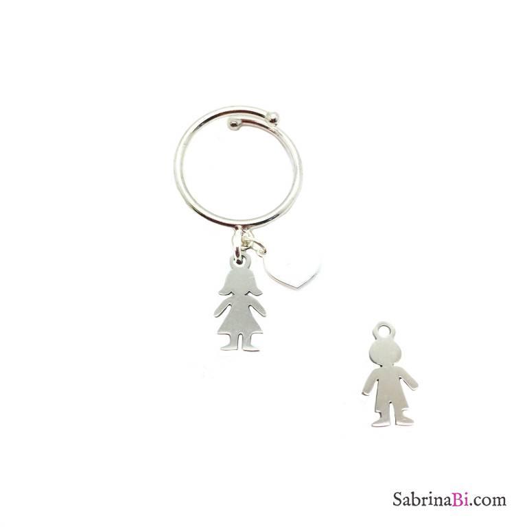 Anello regolabile argento 925 Bambino/a e cuore