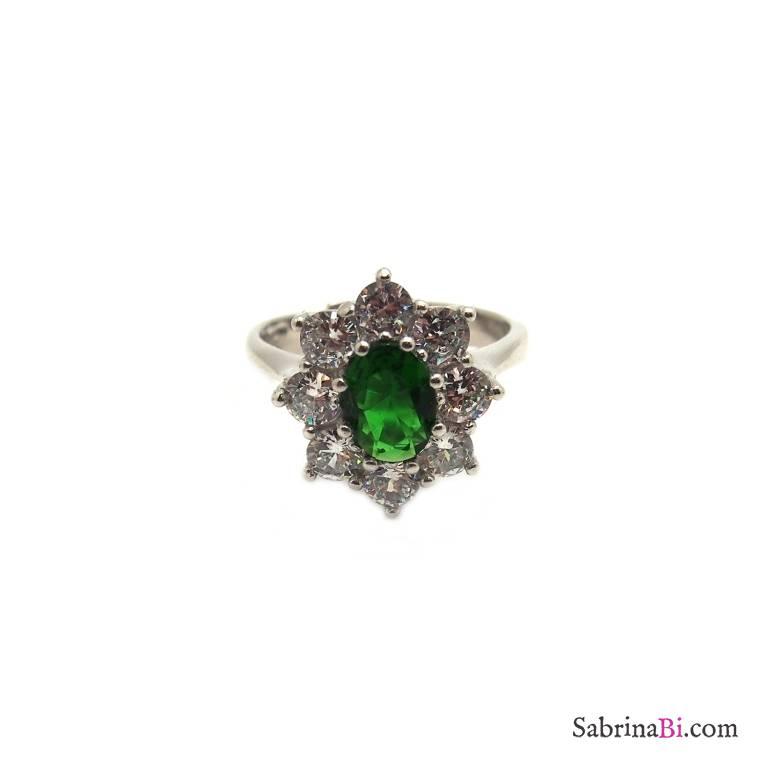 Anello regolabile argento 925 Kate verde