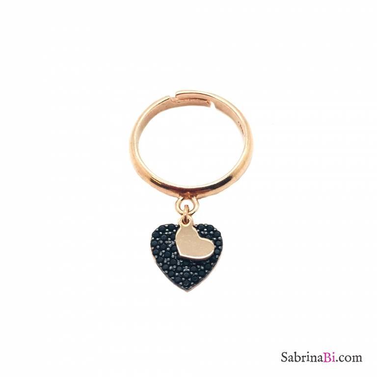 Rose gold sterling silver Big heart adjustable ring