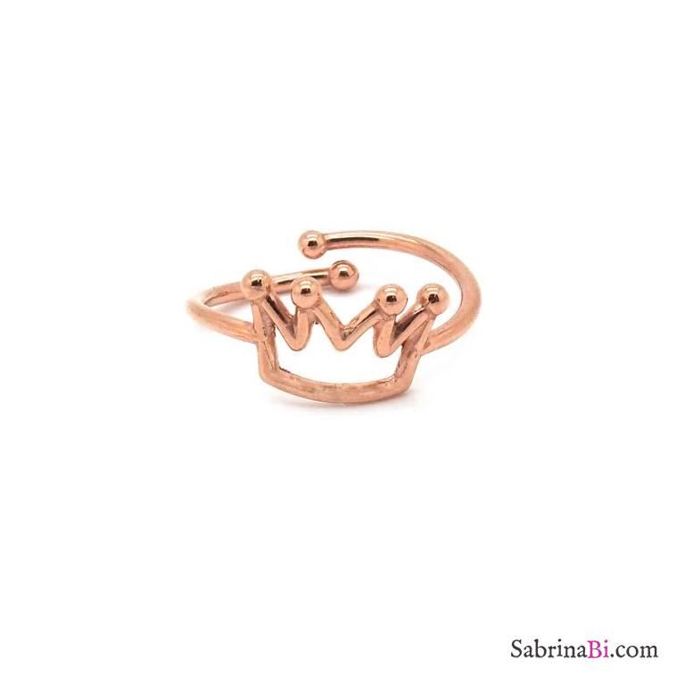 Anello regolabile argento 925 oro rosa corona