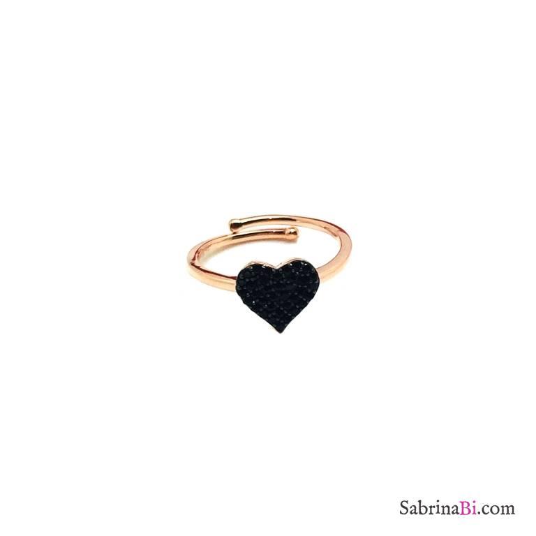 Anello regolabile argento 925 oro rosa cuore pavè Zirconi neri
