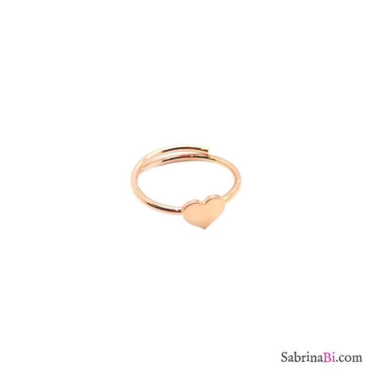 Anello regolabile argento 925 oro rosa cuore piccolo