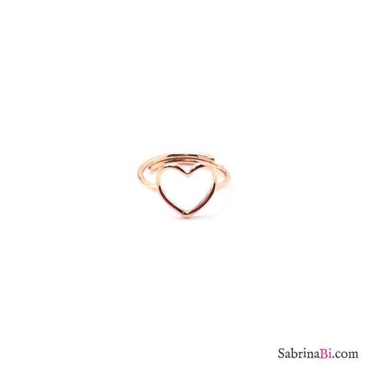 Anello regolabile argento 925 oro rosa cuore vuoto