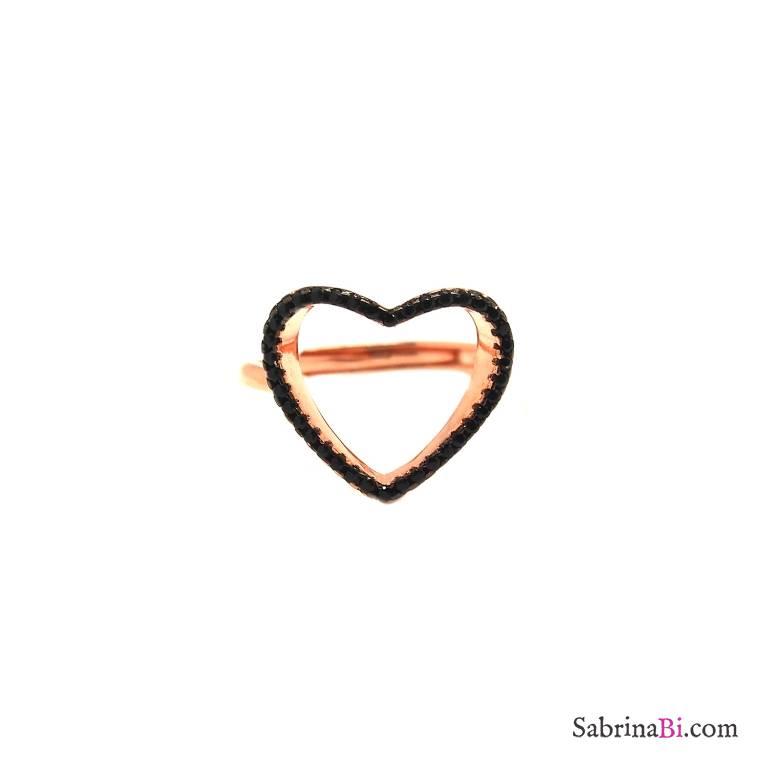 Anello regolabile argento 925 oro rosa cuore Zirconi neri