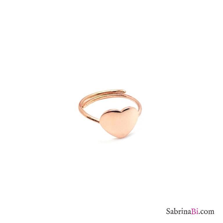 Anello regolabile argento 925 oro rosa cuore