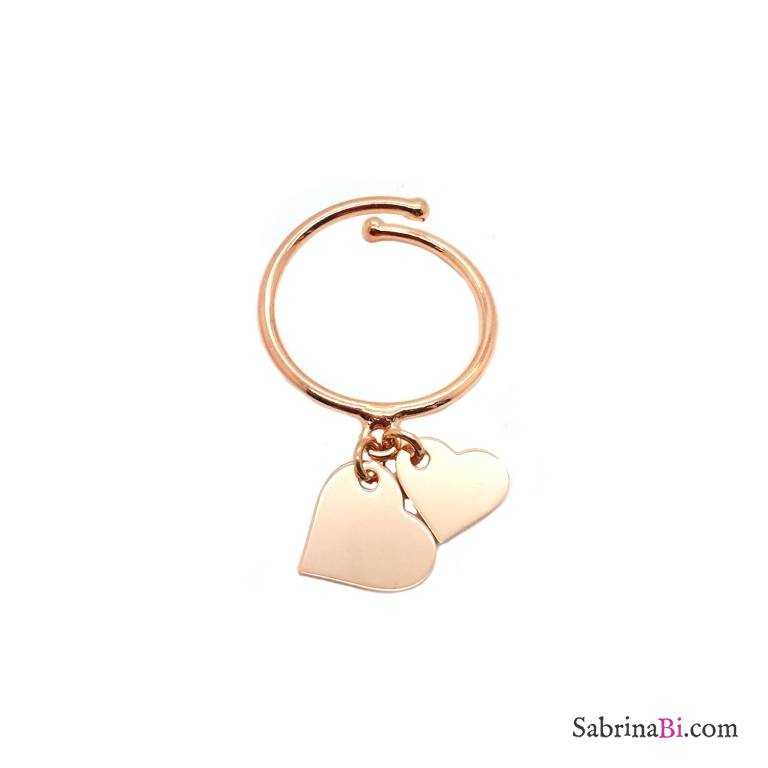 Rose gold sterling silver double heart adjustable ring