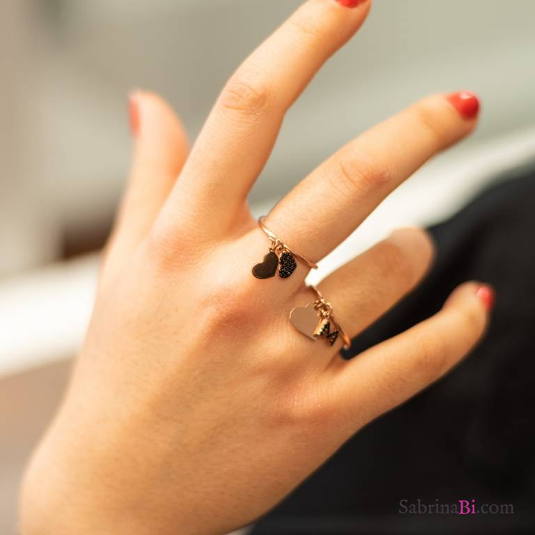 Rose gold sterling silver two hearts adjustable ring