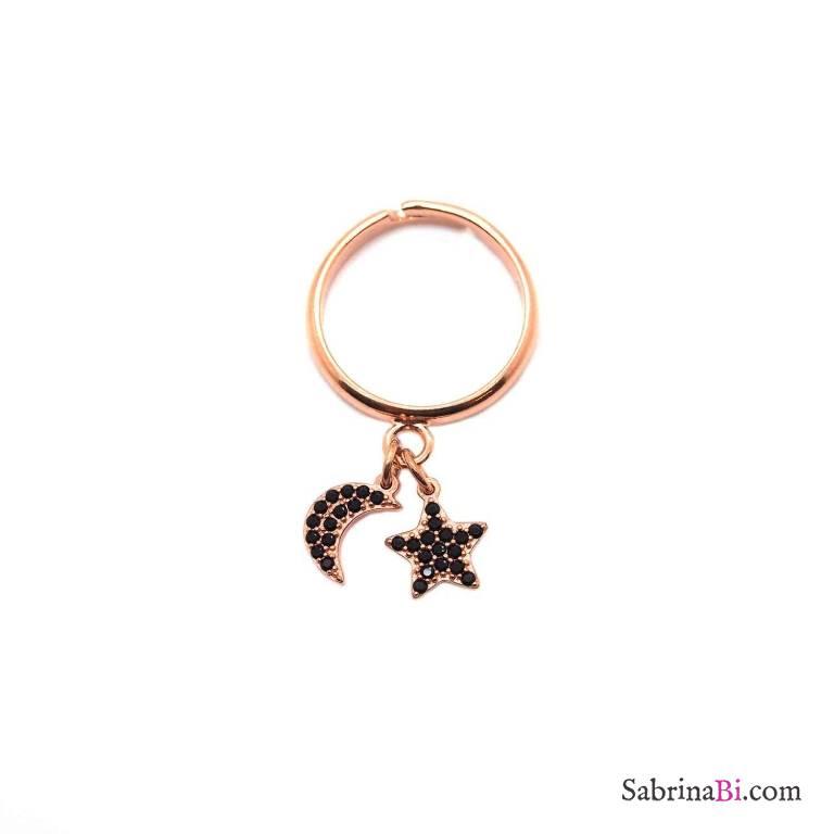 Anello regolabile argento 925 oro rosa Luna + Stella Zirconi neri