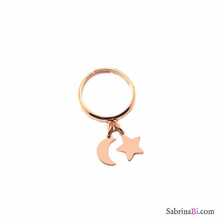Anello regolabile argento 925 oro rosa Luna + Stella