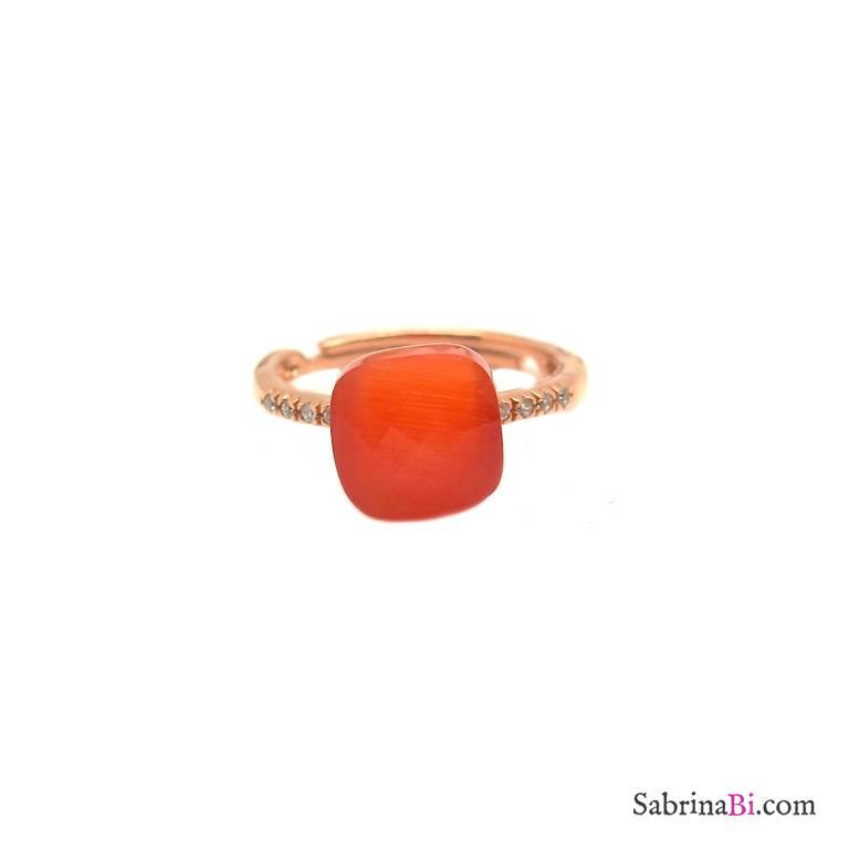 Anello regolabile argento 925 oro rosa Opale arancio scuro
