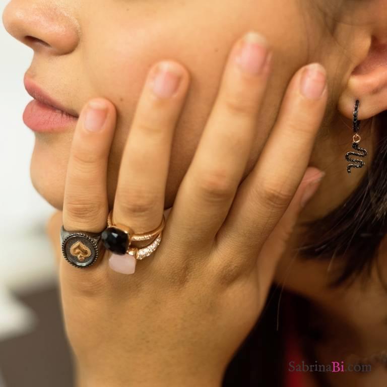 Anello regolabile argento 925 oro rosa Opale rosa