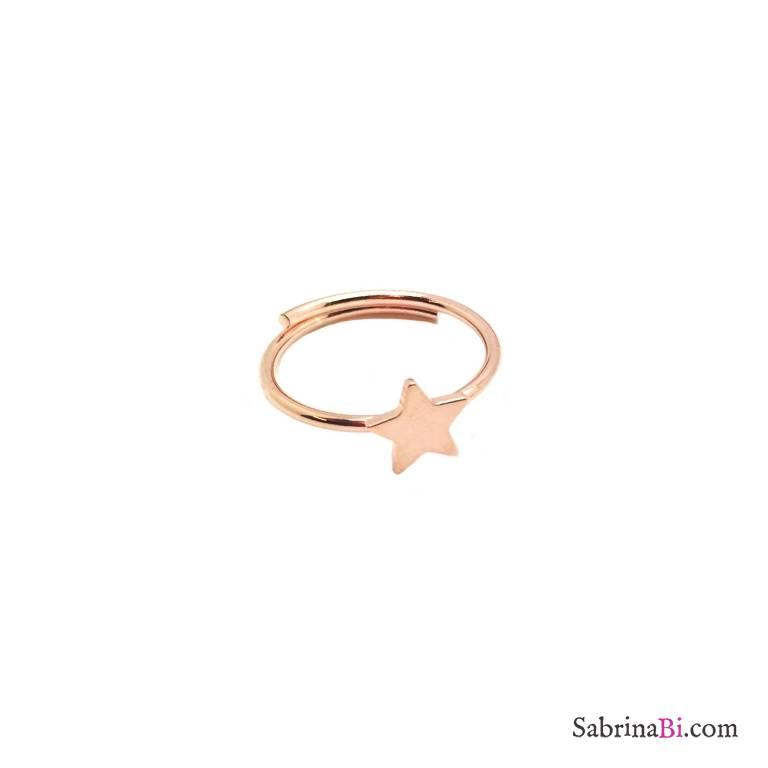 Anello regolabile argento 925 oro rosa stella piccola
