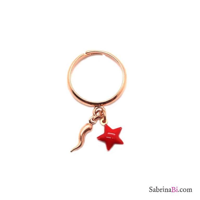 Anello regolabile argento 925 oro rosa Stella rossa e cornetto