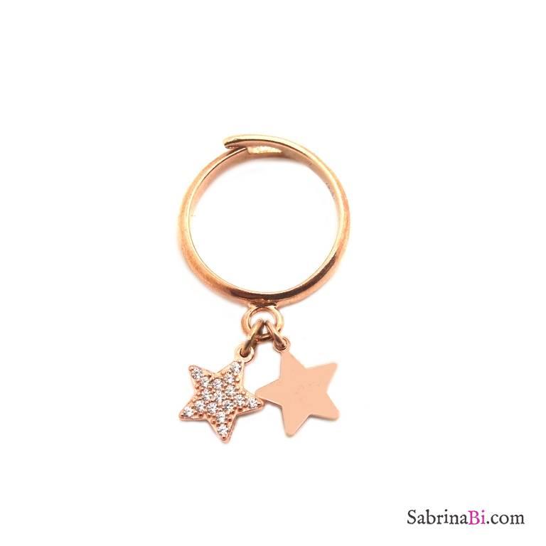 Anello regolabile argento 925 oro rosa Stella + Stella Zirconi