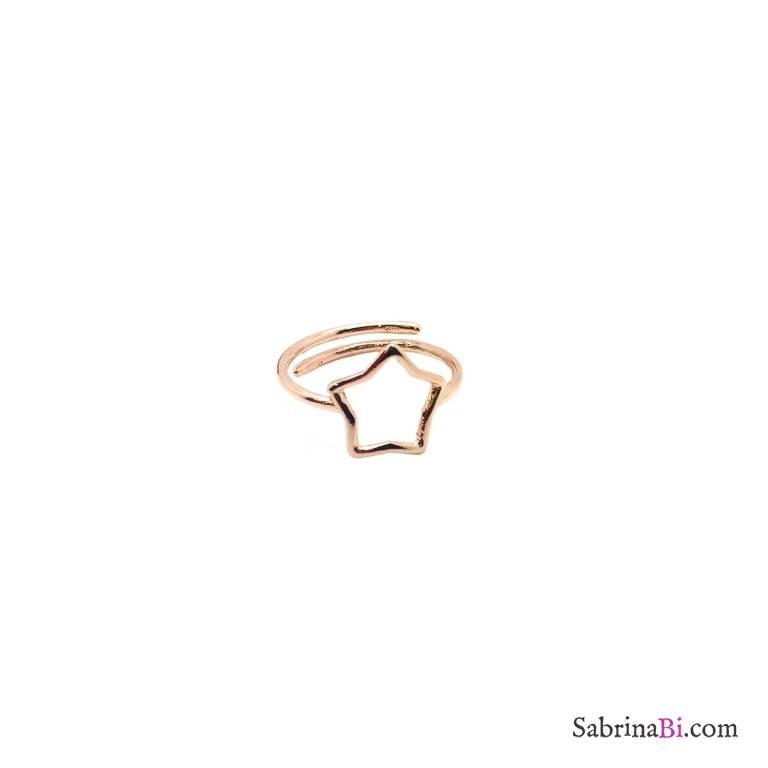 Anello regolabile argento 925 oro rosa stella vuota
