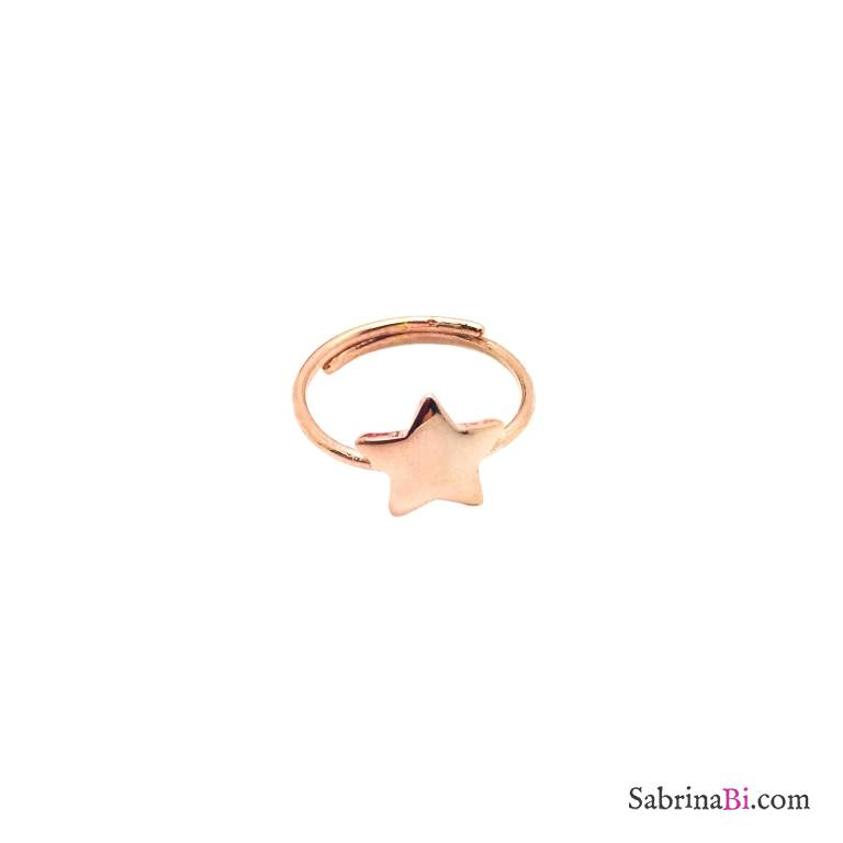 Anello regolabile argento 925 oro rosa stella
