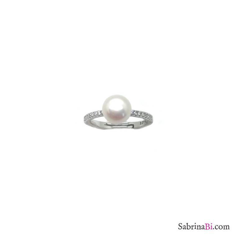 Anello regolabile argento 925 perla bianca e Zirconi