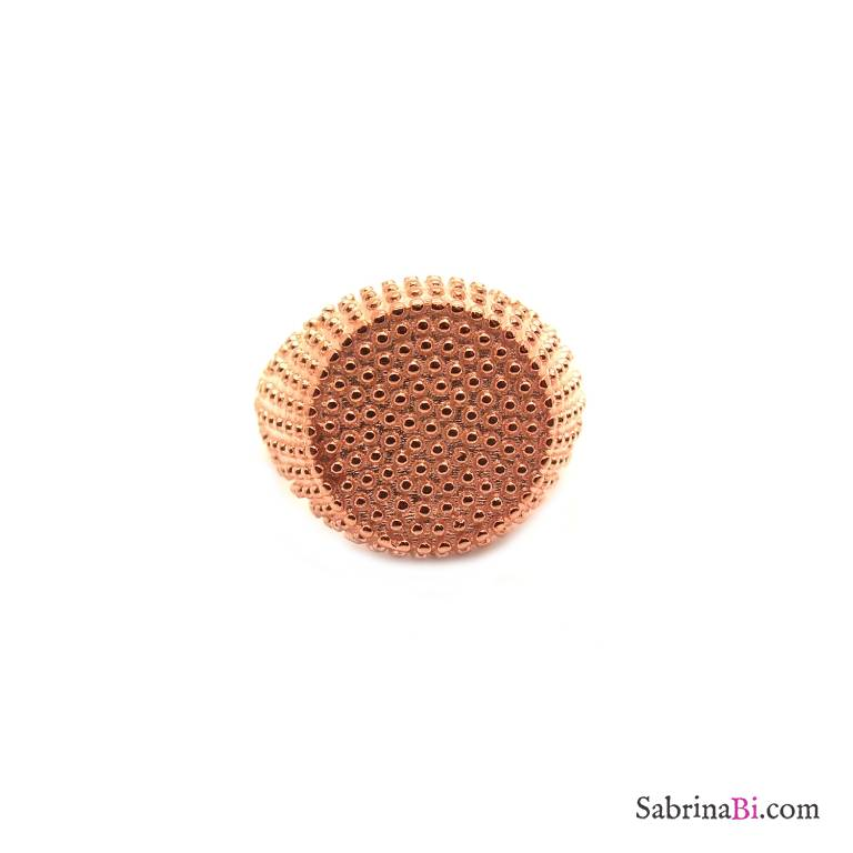 Anello regolabile Chevalier argento 925 oro rosa borchiato cerchio