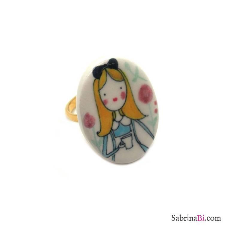 Porcelain Alice in Wonderland adjustable ring