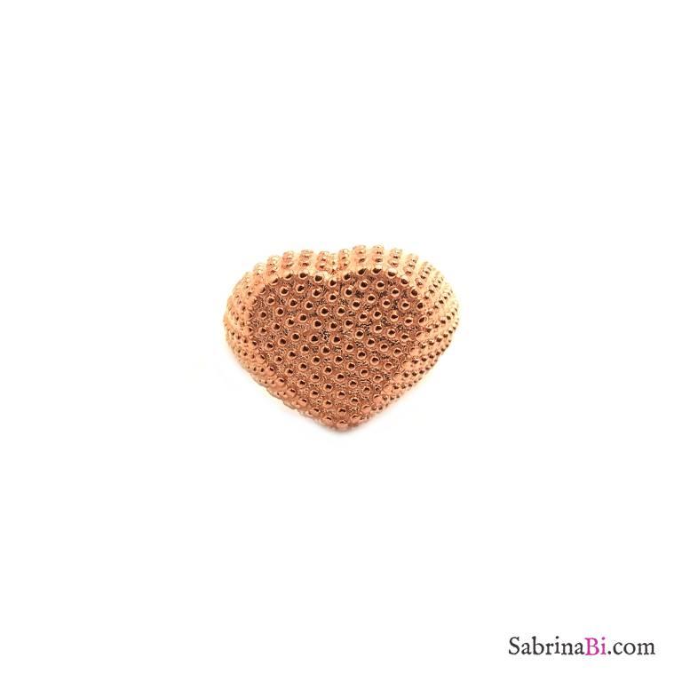 Anello regolabile mignolo argento 925 oro rosa borchiato cuore