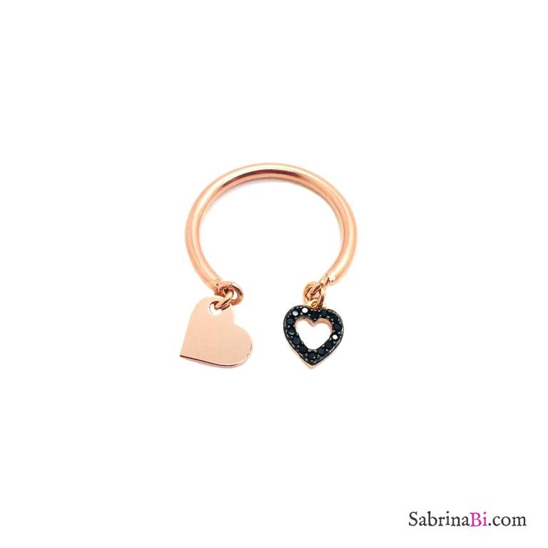 Adjustable rose gold sterling silver double heart open ring