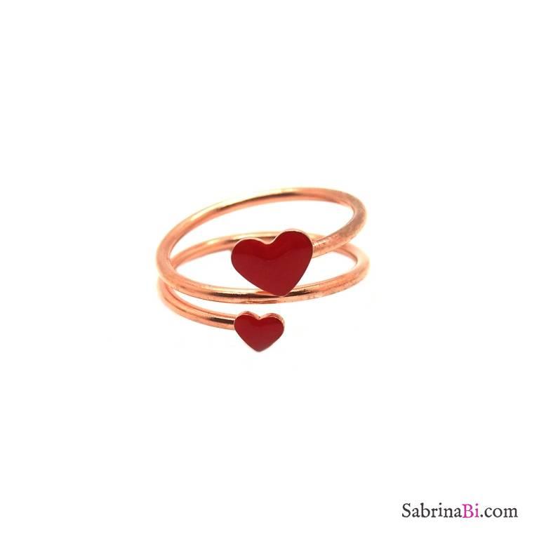 Anello regolabile spirale argento 925 oro rosa cuori rossi
