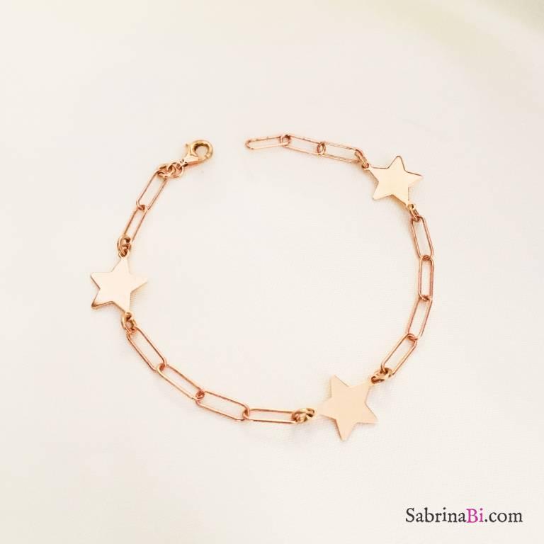 Bracciale 3 Stelle catena graffetta argento 925 oro rosa
